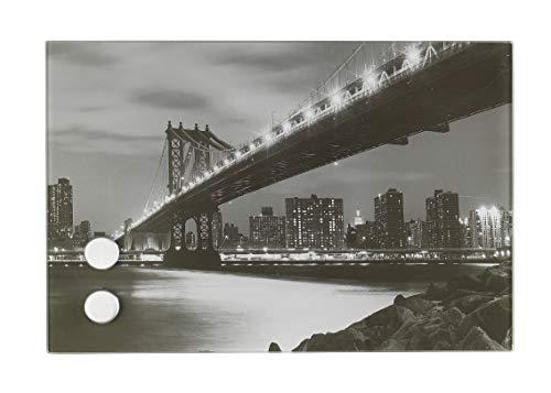 WENKO 50462100 Schlüsselkasten Manhattan Bridge, magnetisch, mit 17 Haken, Gehärtetes Glas, 30 x 20 x 5 cm