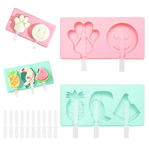 Moldes de silicona para paletas de hielo, 2 piezas de silicona para paletas de helado para niños, moldes reutilizables para paletas de hielo de grado alimenticio, + 10 piezas de palitos de pal