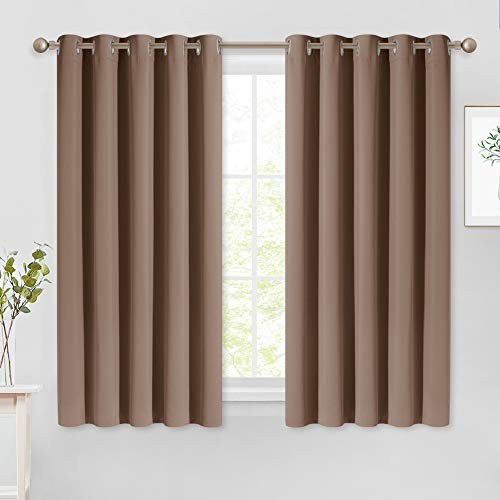 NICETOWN Insulated Blackout Curtains and Drapes - Microfiber Energy Saving Thermal Insulated Solid Grommet Blackout Draperies for Kitchen (1 Pair, 66 inches by 54 Inch, Cappuccino)