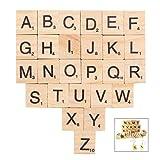 Jzhen 200 Piezas Letras de Madera, Scrabble Letras, Alfabeto Madera A a Z para Manualidades DIY Decoración, educación Infantil