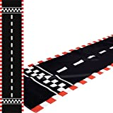 Long race track: the package includes 1 piece of floor running mat measuring about 10 ft long and 24 inch wide, which is long and broad enough to allow you to run a racing car game in parallel with your friends Reliable material: the racing car runwa...