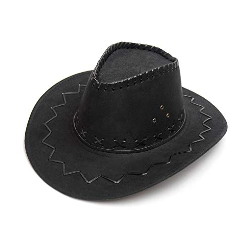 NYKKOLA Deluxe Wide Brim Suede Cowboy Hat Unisex Fancy Dress Accessory black
