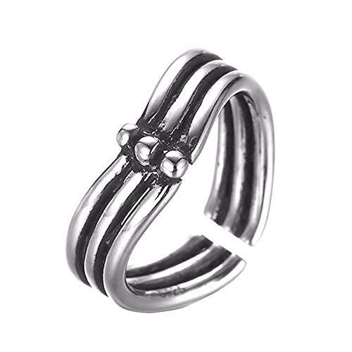 HDDWZH Woman Ring,DREI Linie Liebe Herz Anhänger Ring Antik Silber Vintage Ring Türkischen Damenschmuck Weiblichen Finger Zehenring Geschenk