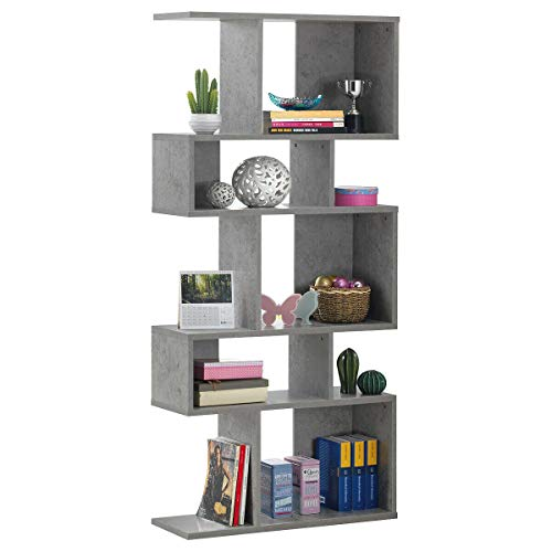 Giantex Freestanding Ladder Bookcase, 5 Cubes Corner Storage Bookshelf, 5-Layer Shelves Closet Organizer Rack Display Cabinet (Gray)
