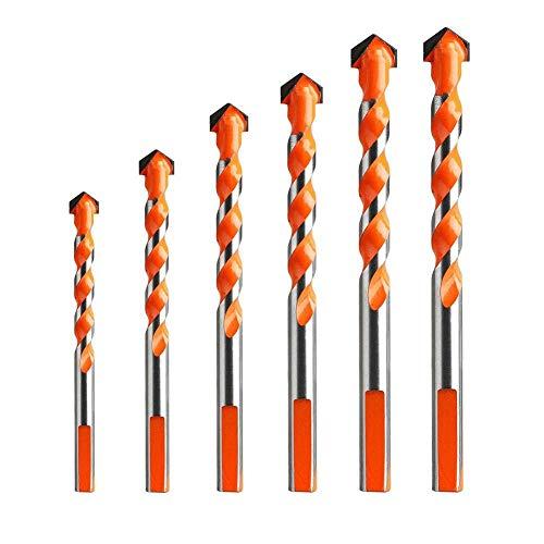 Brocas Para 6 unids Multifuncional Cerámica Muro de vidrio Agujero de perforación Sierra Juego de carpintería 4/5/6/8 / 10 / 12mm