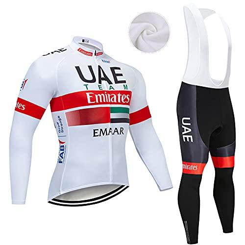 XGFHX Maglia da ciclismo da uomo in pile invernale a maniche lunghe in jersey da ciclismo con imbottitura in gel 5D pantaloni bretelle
