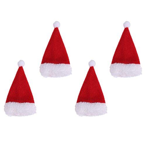 Milageto 4 Piezas Rojo Navidad Franela Sombrero de Papá Noel Botella de Vino Topper Cubierta Bolsas de Vajilla