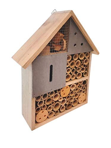 Branamel Bee Hotel Bee Home Bee House, Insect Hotel House Home. Best for Garden Patio Balcony, Bee Bug Insect. Natural Wood