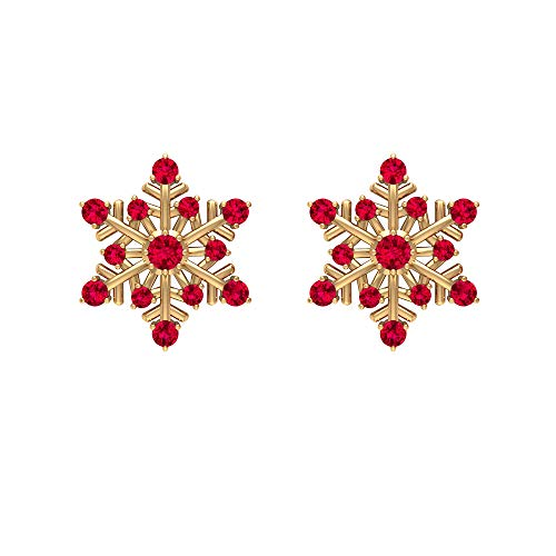 Pendientes de tuerca de rubí de 1/2 quilates, pendientes de tuerca de copo de nieve para mujer, pendientes modernos de oro (calidad AAA), rosca trasera rojo