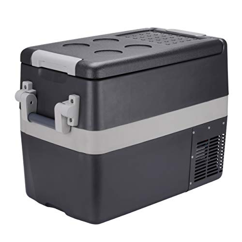 Portable Refrigerator 42 Quart (40 Litre) Mini Car Fridge for Truck, RV, Caravan and Boat |12V/24V DC 110V AC Compact Freezer |Small Electric Cooler for Camping, Fishing, Outdoor Picnic and BBQ Party