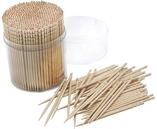 1 Pack 100% Wooden Round Toothpicks Wood Fruit Salad Cocktail Sticks 500Pcs,66mm Length