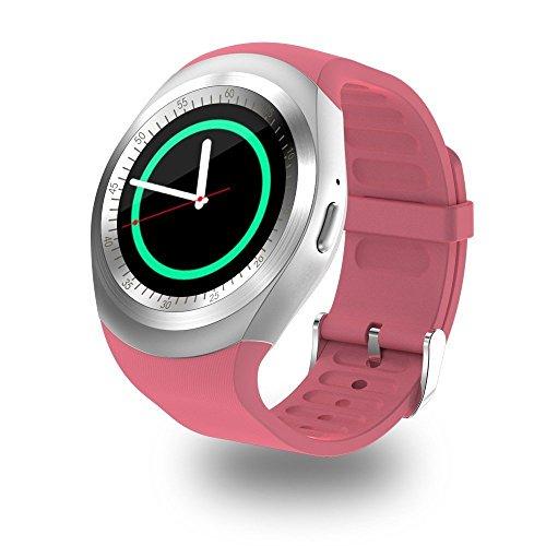 Y1 Smartwatch met touchscreen, ondersteunt micro-simkaart, Bluetooth 3.0, slaapmonitor buitenshuis, fitness, voor iOS en Android, Violeta