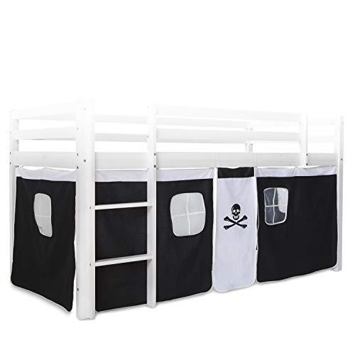 Homestyle4u 1516, Bettumrandung Bettvorhang für Hochbett, Vorhang Stoff Baumwolle, Schwarz