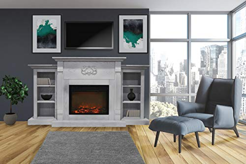 CAMBRIDGE 72-in. Sanoma White with Built-in Bookshelves and a 1500W Charred Log Insert, CAMBR7233-1WHT Electric Fireplace