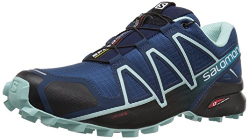 Salomon Women's Speedcross 4 Trail Running Shoes, Poseidon/Eggshell Blue/Black, 8
