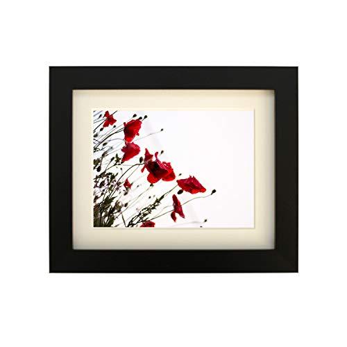 Getailleerd frames-black vierkant design fotolijst afmeting 50 x 40 cm voor 40 x 30 cm met antiek witte passe-partout, om op te hangen.