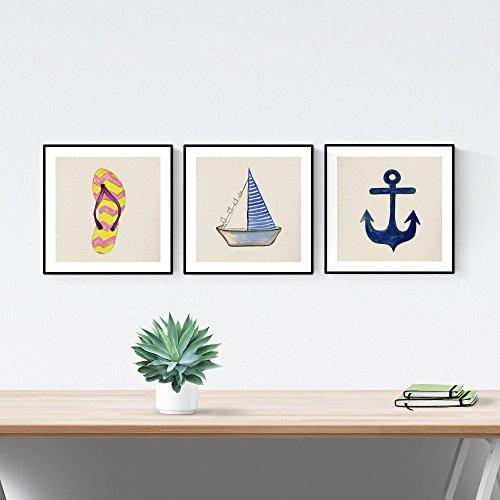 Nacnic Pack de láminas para enmarcar DÍA DE Playa. Posters Cuadrados con imágenes del mar. Decoración de hogar. Láminas para enmarcar. Papel 250 Gramos