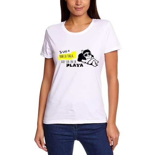 Playa Comic Verano – Camiseta Manga Corta (Blanco, S)