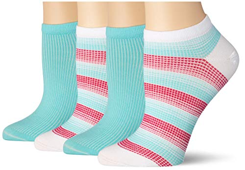 Tommy Hilfiger Womens Madras Check Sneaker-Trainer Women's (2 Pack) Socks, Mint Combo, 39/42