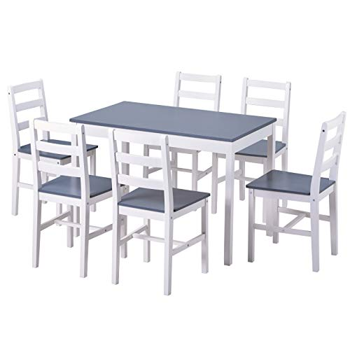 Juego de mesa de comedor de cocina con combinación de sillas y mesa moderna, 6 sillas y 1 mesa, para comedor, sala de estar y cocina, madera de pino, gris y blanco