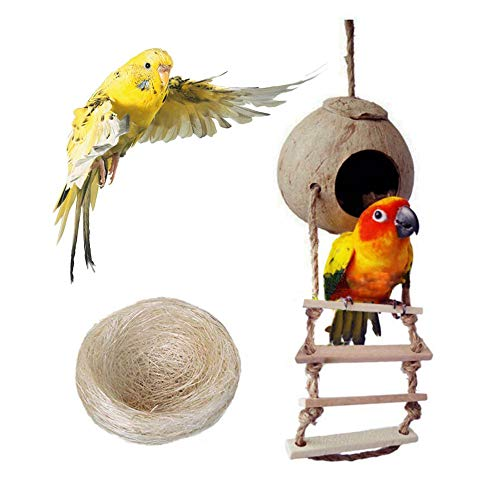 Bird Nest for Parakeets Naturals Coco Parrot Breeding Box Lovebird House Cage Play Hanging Toy with Ladder for Budgies Parakeet Cockatiels Conure Canary Finch Pigeon