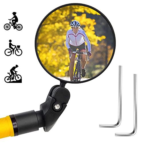 Espejo Retrovisor Bicicleta,Espejo Retrovisor De Bicicleta Hd Convexo,360 Grados Giratorio,Espejo Gran Angular,Bicicleta Montaña, Bici EléCtrica,Bici Carretera Manillar Espej Accesorios Bicicleta