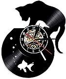 ZZLLL Reloj de Pared de Vinilo 3D decoración Nocturna Brillante de Gato Vintage y Acuario con Reloj de Vinilo DIY de 12 Pulgadas