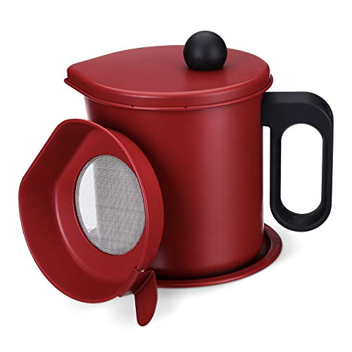 Bacon Grease Container with Fine Mesh Strainer 1.7L Oil Pot with Strainer Cooking Oil Filter with Anti-scalding Handle and Coaster Tray Stainless Steel Oil Storage Pot Can for Cooking Oil,Frying Oil
