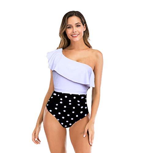 Posional Monokini Bikini Femme 1 Pièce Straps Col V Dos Nu Dot Motif Patchwork Rembourré Taille Haute Ventre Plat Sexy Elégant African Essential Endurance Beachwear Ensembles - Blanc - EU 40