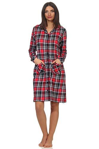 NORMANN-Wäschefabrik Damen Nachthemd zum durchknöpfen in Karo-Optik - Single Jersey - auch in Übergrössen, Farbe:rot, Größe:52/54
