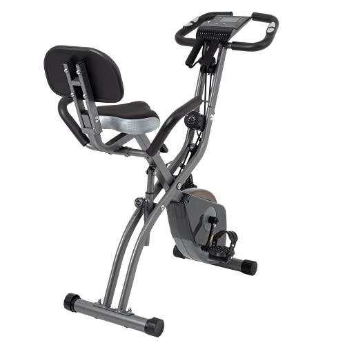 cyclette tablet Bicicletta pieghevole con resistenza magnetica regolabile a 10 livelli. La cyclette pieghevole verticale e reclinata è la bici da allenamento perfetta per uso domestico per uomini e donne. (Grigio)