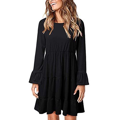 Check Out This Midress Women's Solid Color Mini Dresses Long Sleeve O-Neck T-Shirt Dress Casual Loos...