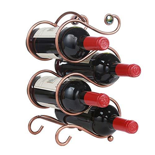 Weilai Wine Rack Wrought Iron Ornaments Wine Rack Fashion Wine Bottle Holder Can Put 4 Bottles Of Wine Tabletop Wine Storage Rack Countertop Display Wine Holder