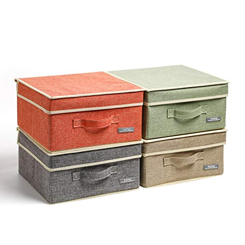 YueYue Small 4 Pack Fabric Stroage Box with Lids Linen Foldable Stroage Box with lids 4 Color Set 124in12in67in