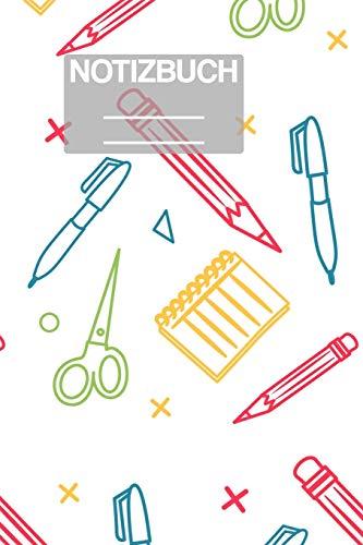 Notizbuch A5 Muster Zeichnung Grundschulsachen Schule Zirkel Stift Pinsel Aufgaben liste Schere Füller: • 111 Seiten • EXTRA Kalender 2020 • ... • Karo • Raster • Geschenk • Geschenkidee