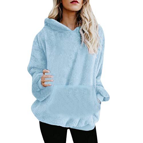 Women Hoodie TUDUZ Ladies Plus Size Long Sleeve Warm up Faux Fur Zipper Pocket Fleece Hooded Sweatshirt Oversized CoatB Light BlueSUK10