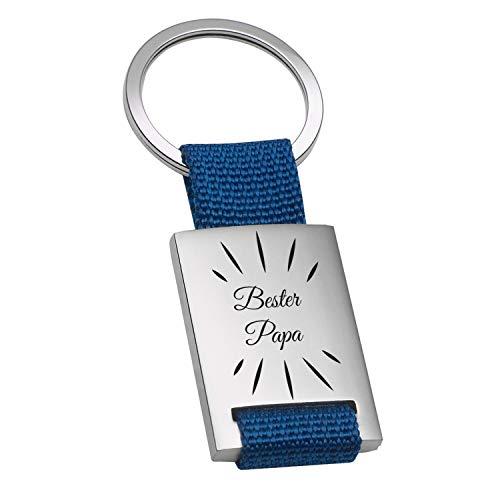 Geschenke 24 Metall Schlüsselanhänger mit Gravur - bester Papa (blau, Strahlen ohne Name): Schlüsselanhänger Papa, Autozubehör - Vatertagsgeschenk, Geburtstagsgeschenk