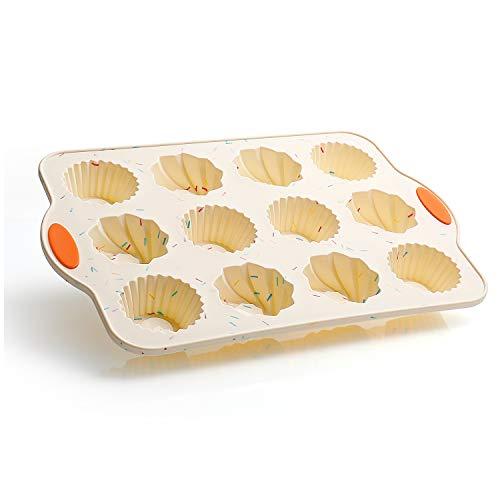 SveBake Silikon Backform für Mini Muffin und Gugelhupf Kuchen mit Metallverstärkungsrahmen - Kuchenform Klein Traditioneller Paris Savarin Stil 12er mit Antihaftbeschichtung, 34 * 23 * 3,5 cm, Beige