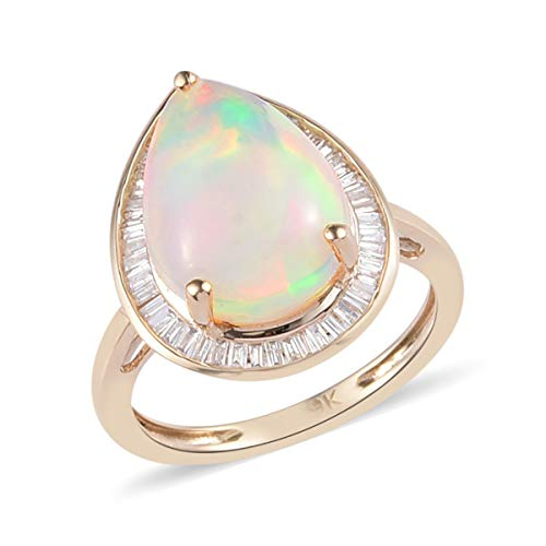 TJC AAA Pink Opal Halo Ring for Women in 9ct Yellow Gold Anniversary Jewellery Size T with White Diamond, TCW 3.5ct