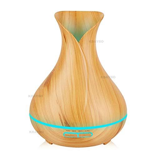 400 ml geurverspreider met etherische olie Ultrasone luchtbevochtiger met houtnerf Elektrische LED-verlichting Geurverspreider voor thuis, licht hout, VK