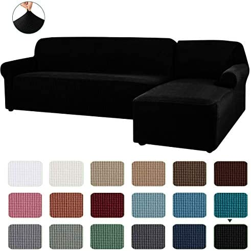 Best CHUN YI 2 Pieces L-Shaped Right Chaise Jacquard Polyester Stretch Fabric Sectional Sofa Slipcovers D