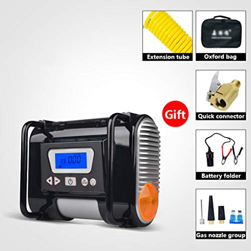Digitale Tire Inflator, Portable Air Compressor, DC 12V 100psi, Car Tire Inflator met automatische uitschakeling Preset Digitale bandenspanningsmeter en Led Waarschuwing Strobe Light