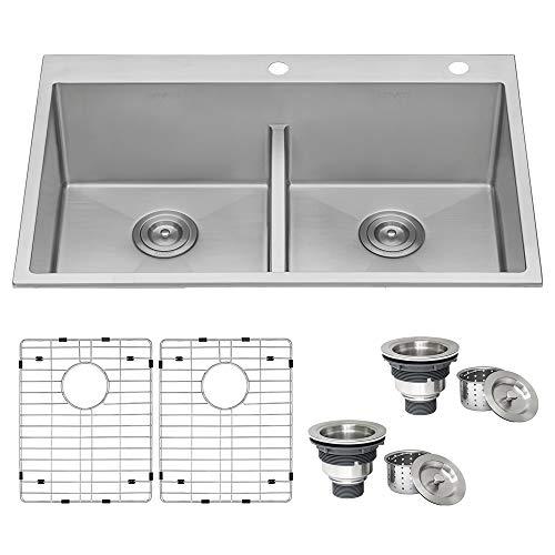Ruvati 33-inch Drop-in Low-Divide Tight Radius 50/50 Double Bowl 16 Gauge Topmount Kitchen Sink -...