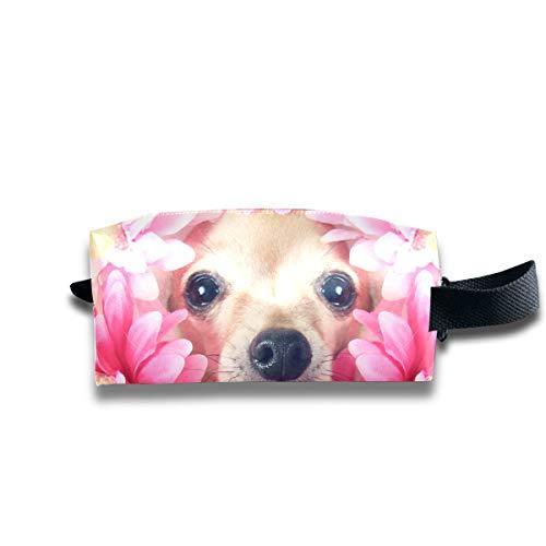 Kosmetiktasche für Mädchen Chihuahua mit Blumen um den Kopf 59132161 Herkunft Männer Kulturbeutel Quadratische Kosmetiktaschen Große Kapazität mit Reißverschluss für Frauen und Mädchen Täglicher Geb
