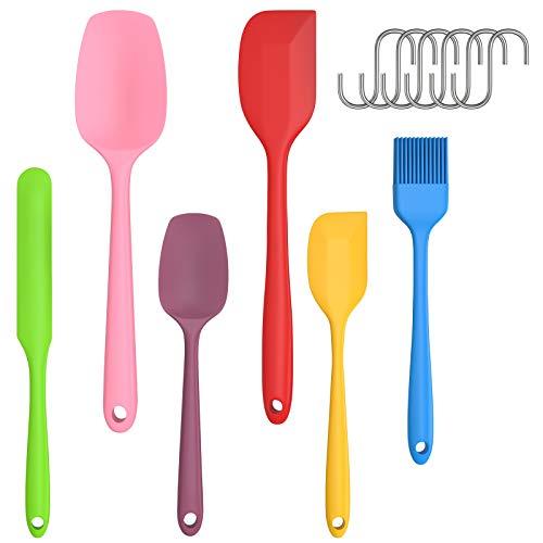 Spatole in Silicone Cucina Set 6pcs + 6 Ganci a Forma S, Utensili da Cucina Resistente al Calore e Antiaderente Alimentare, Gomma Raschietto Spatole Cucchiaio, per Cucinare Cottura e Miscelazione