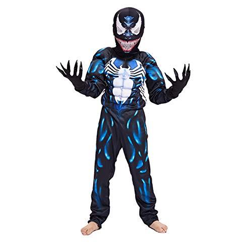 MIAOXI Costume da Tuta da Veleno per Bambini Costume da Cosplay Anime Abbigliamento da Spettacolo di Halloween,Venom-110~120cm
