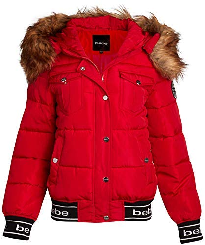 bebe Women's Short Nylon Puffer Bomber Jacket with Fur Trimmed Hood (Red/Natural Fur, Small)