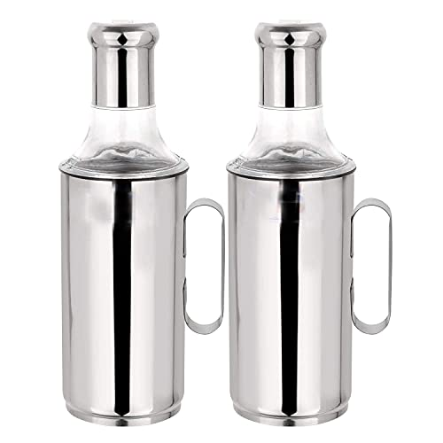 Dharam Paul Traders Stainless Steel Oil Dispenser 1 Litre | Oil Container | Oil Pot | Oil Pourer | Oil Can| Oil Bottle with Handle Set of 2 pcs (1000ml Each)