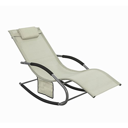 SoBuy OGS28-MI, Outdoor Garden Rocking Chair Relaxing Chair Sun Lounger with Side Bag, Beige