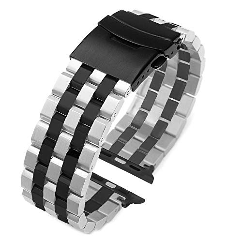 Fashion Two Tone Design Silver-Black Stainless Steel Watch Band Compatible for Apple 42mm/44mm Black Matte Metal Watch Strap Replacement Wristband for iWatch Series 6 SE 5 4 3 2 1